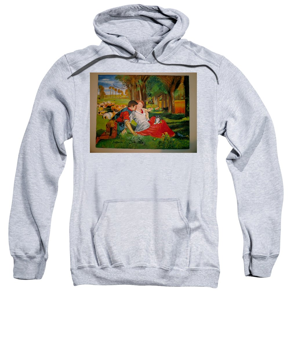 Sweatshirt featuring the painting double portrait of freinds Gunner and Jessie by Jude Darrien