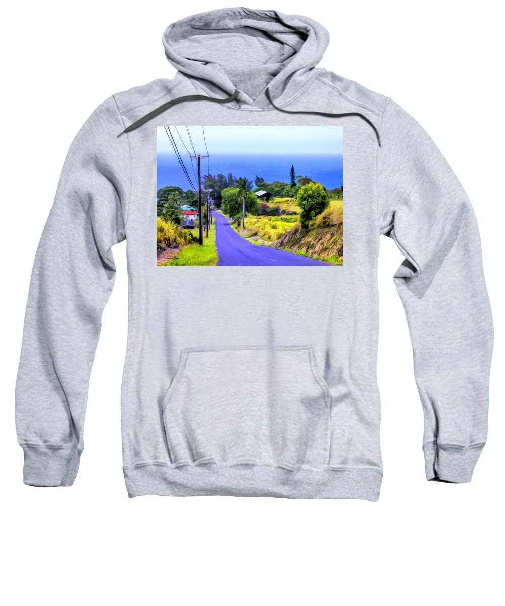 Hawaii Sweatshirt featuring the painting Down Into Honokaa by Dominic Piperata