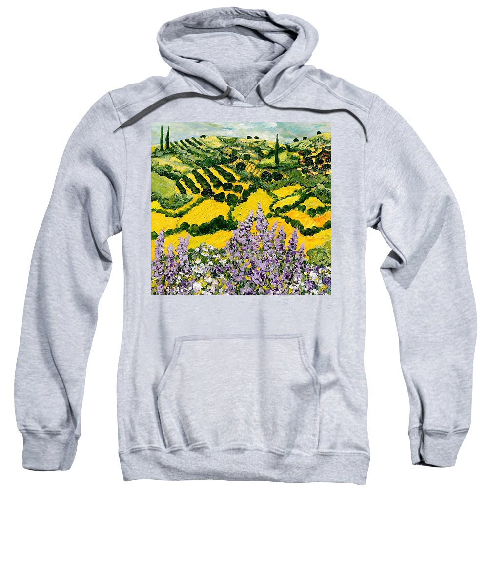 Landscape Sweatshirt featuring the painting Down The Hill by Allan P Friedlander