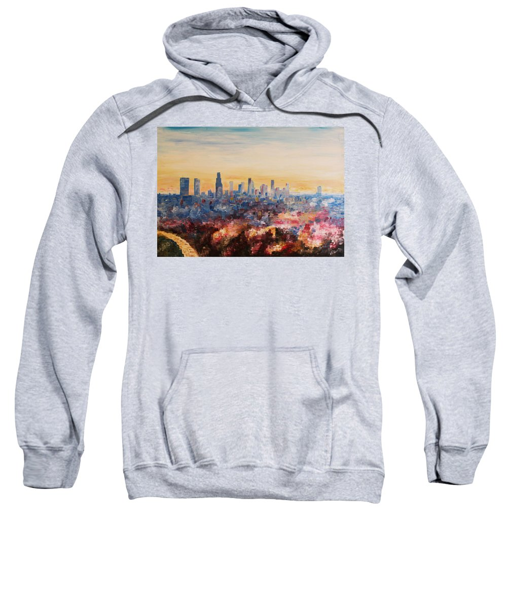 Downtown La Sweatshirt featuring the painting Downtown Los Angeles At Dusk by M Bleichner