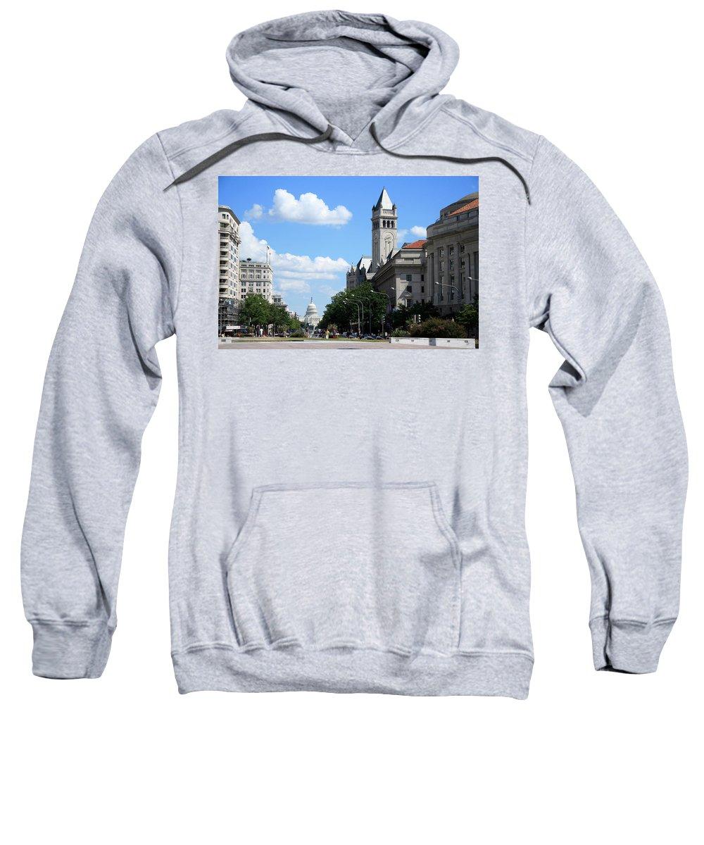 Downtown Sweatshirt featuring the photograph Downtown Washington by Cora Wandel