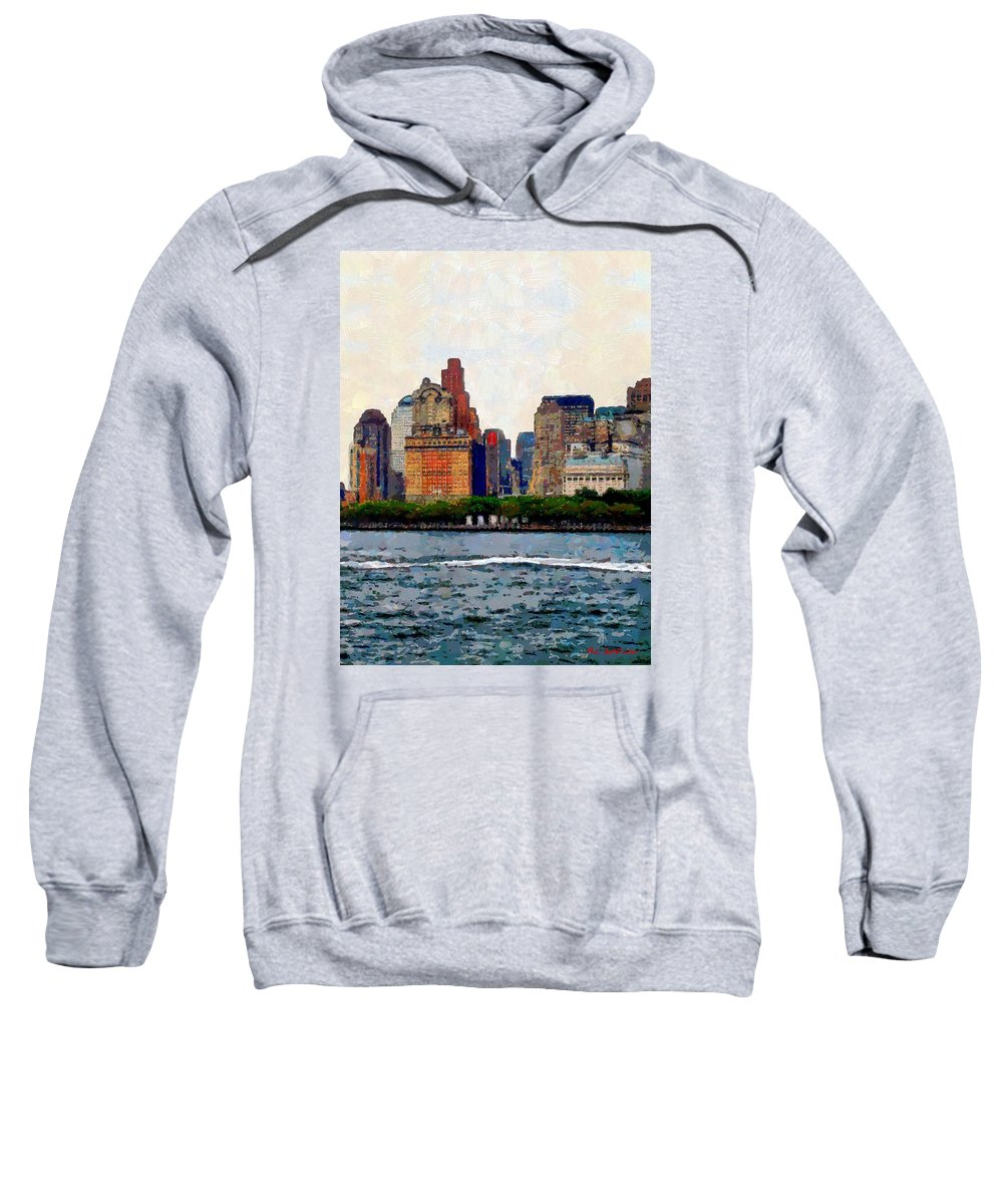 Skyline Sweatshirt featuring the painting Downtown With Edward by RC DeWinter