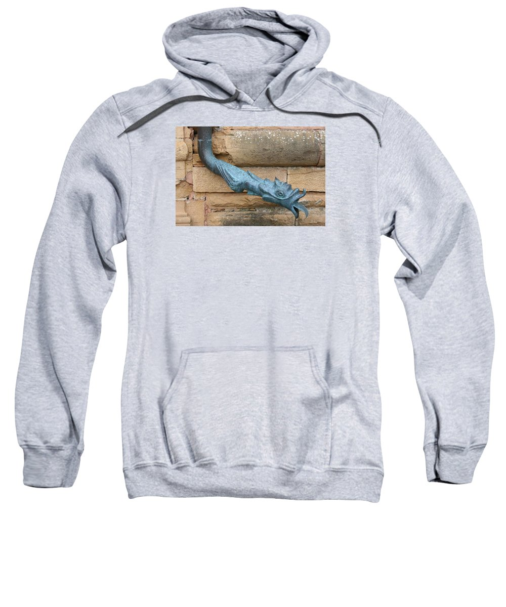 Dragon Sweatshirt featuring the photograph Dragon Waterspout Chateau De Cormatin by Christiane Schulze Art And Photography