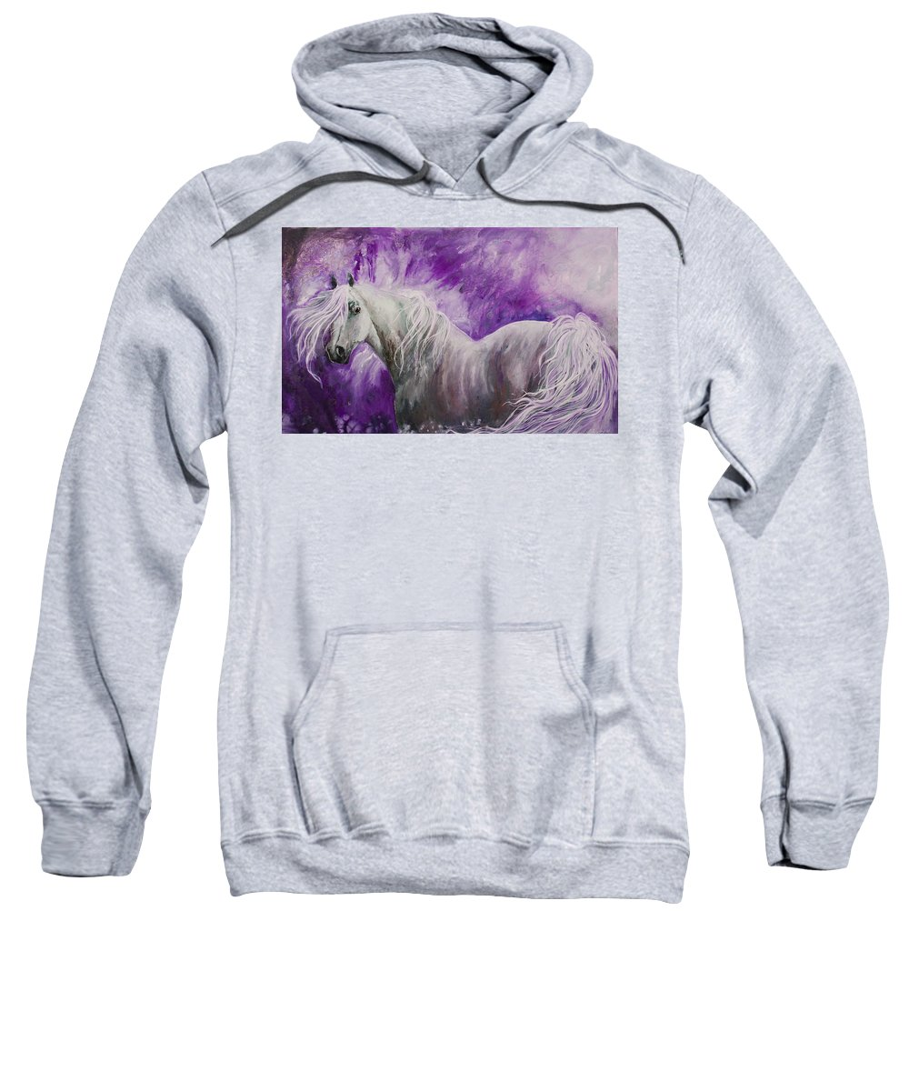 Horse Sweatshirt featuring the painting Dream Stallion by Sherry Shipley