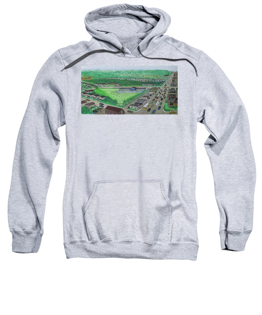 Swimming Pool Terrace Club Dream Land Kendall Ave Gallia Street Sweatshirt featuring the painting Dreamland Swimming Pool In Portsmouth Ohio 1950s by Frank Hunter