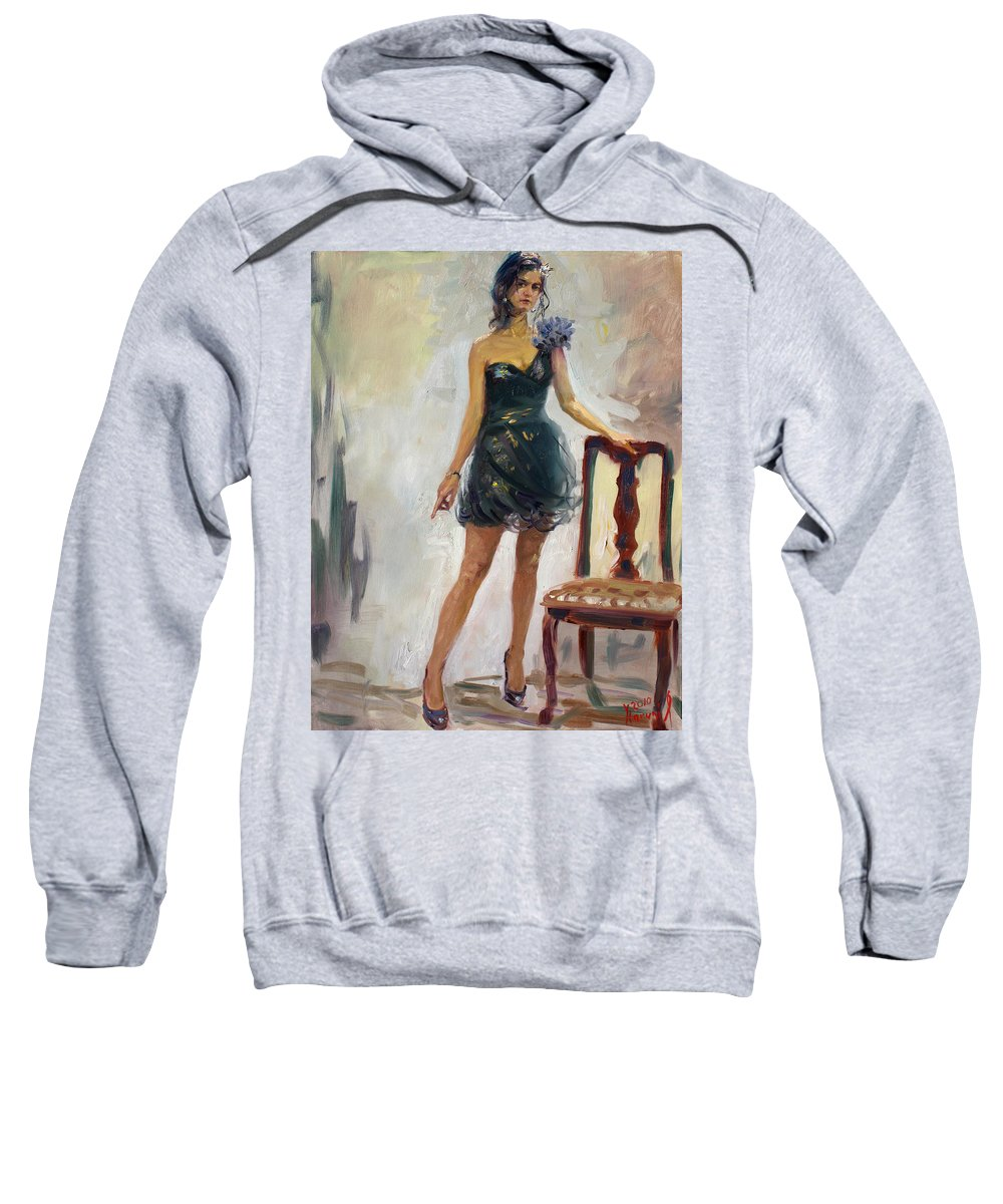 Girl Figure Sweatshirt featuring the painting Dressed Up Girl by Ylli Haruni