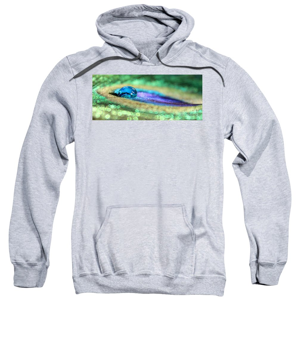 Peacock Feather Sweatshirt featuring the photograph Drop Of Illusion by Krissy Katsimbras