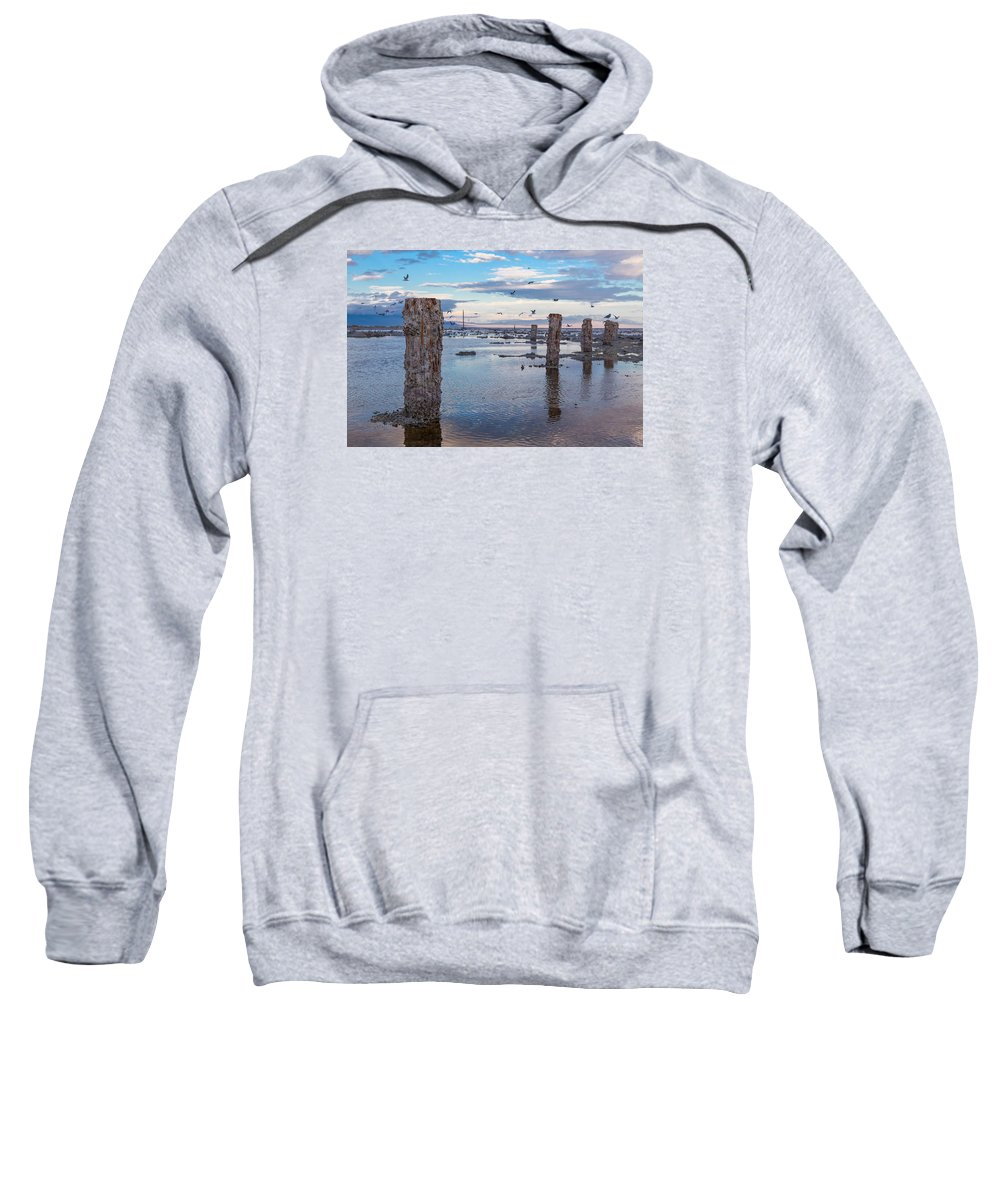 Pilings Sweatshirt featuring the photograph Drying Dock by Scott Campbell