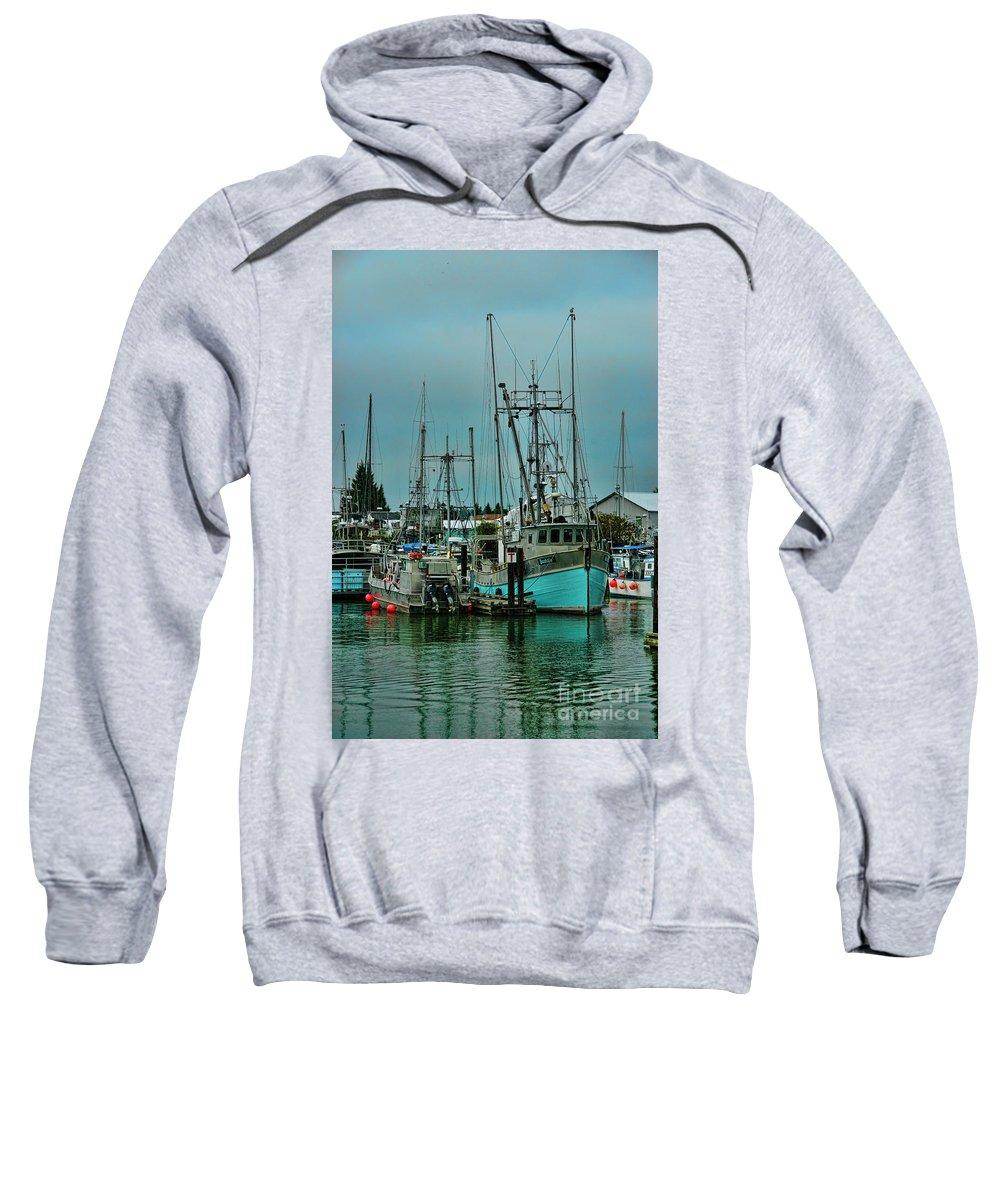 Boats Sweatshirt featuring the photograph Duashala Fishing Boat Hdrbt4247-13 by Randy Harris