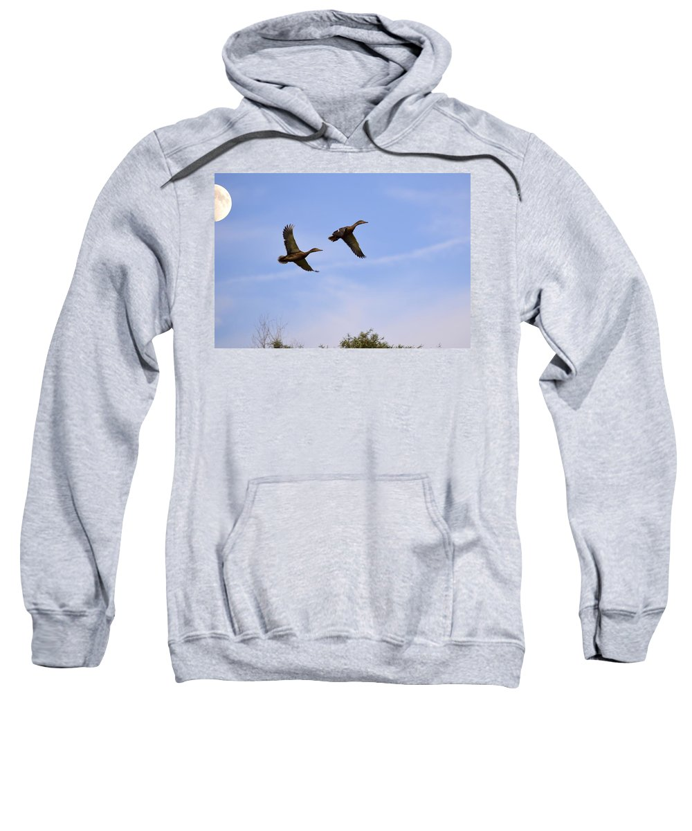 Duck Sweatshirt featuring the photograph Duck Moon by Bonfire Photography