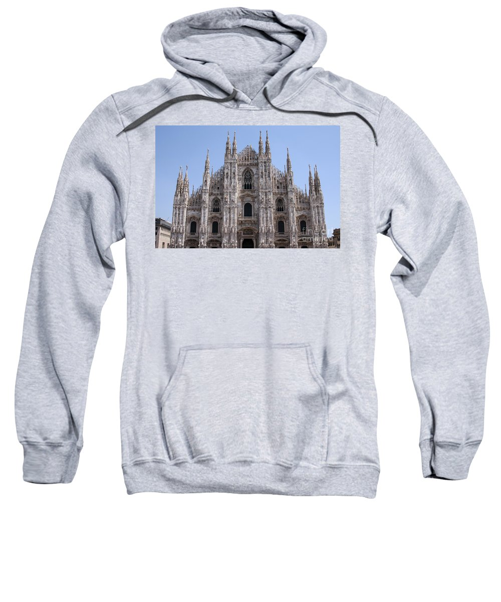 Milan Cathedral Italy Duomo Di Milano Cathedrals Church Churches Building Buildings Spire Spires Places Places Of Worship Structure Structures Landmark Landmarks Cityscape Cityscapes Sweatshirt featuring the photograph Duomo Di Milano by Bob Phillips