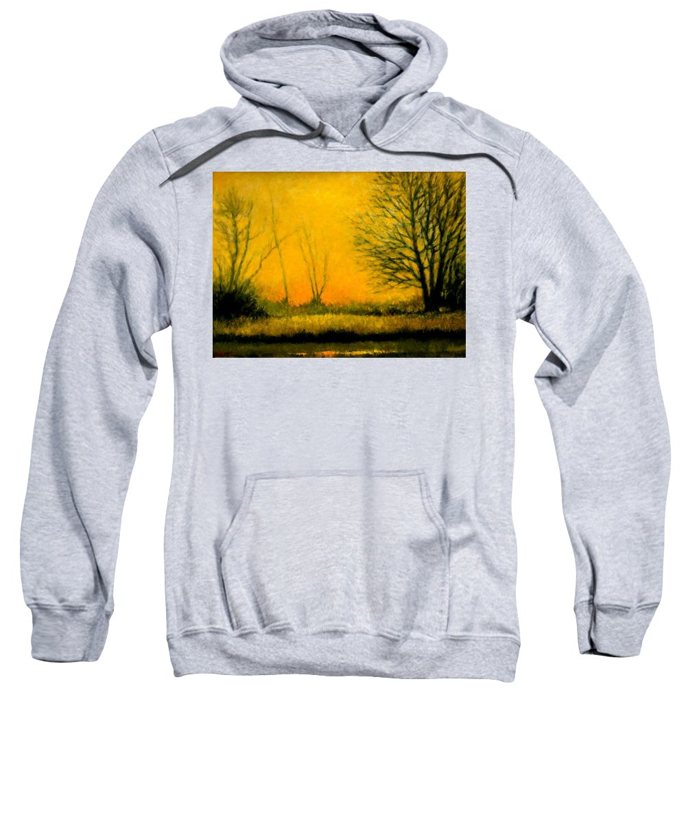 Landscape Sweatshirt featuring the painting Dusk At The Refuge by Jim Gola