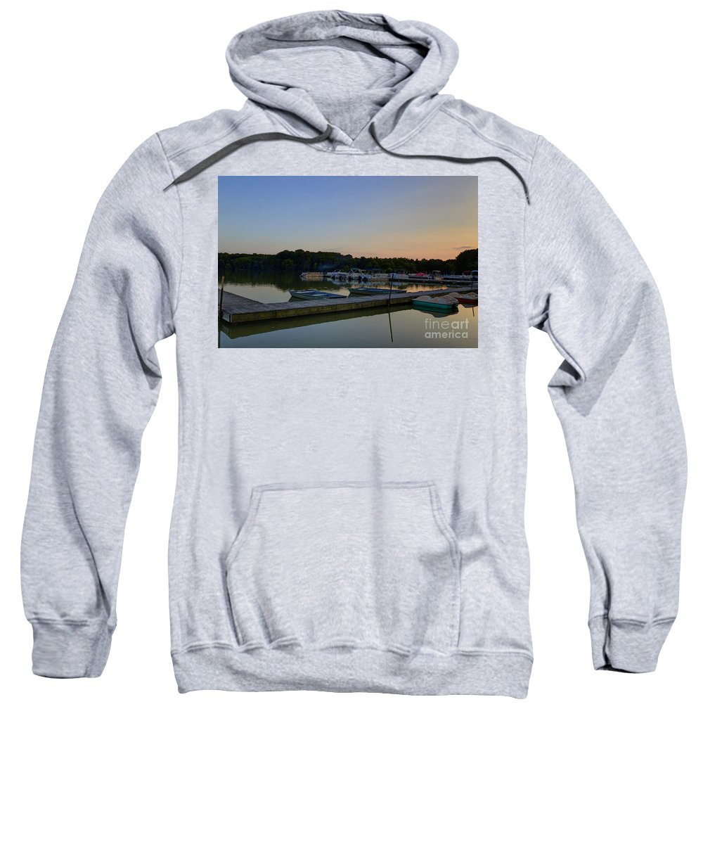 Backgrounds Sweatshirt featuring the photograph Dusk Dock 20140718 by Alan Look