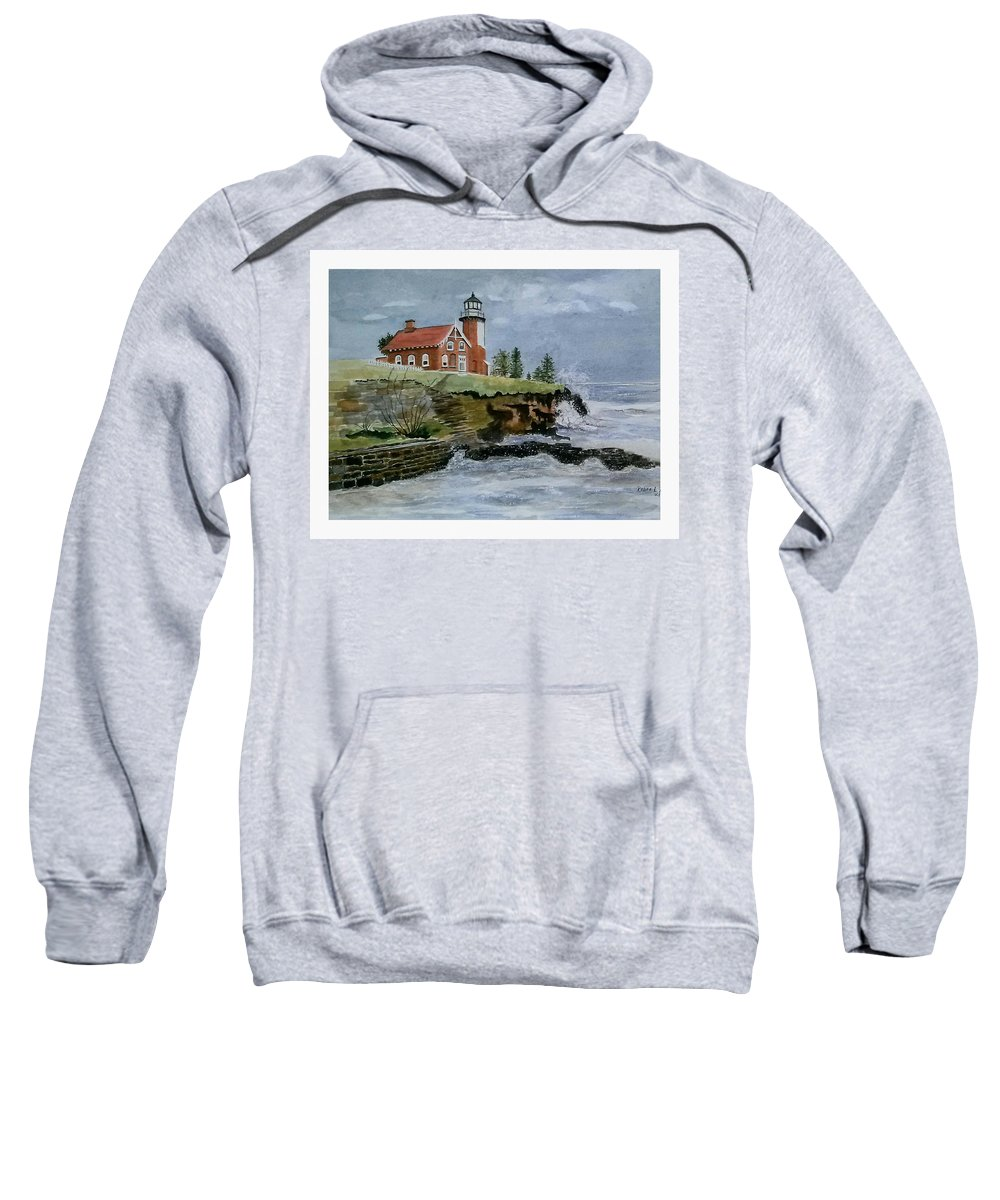 Lighthouse Sweatshirt featuring the painting Eagle Harbor Lighthouse by Debra L Pate