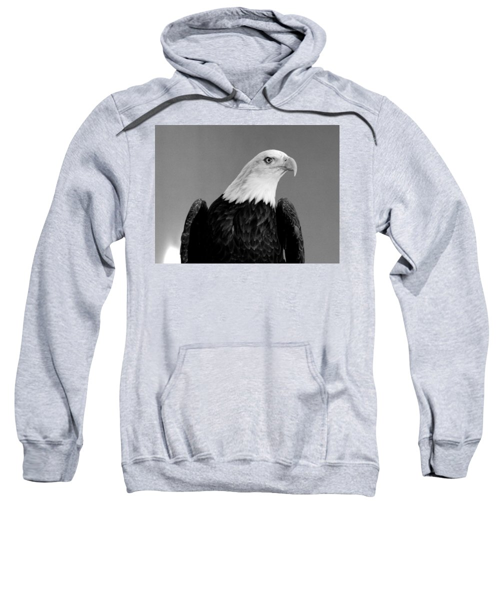 Eagle Sweatshirt featuring the photograph Eagle On Watch Black And White by John Straton