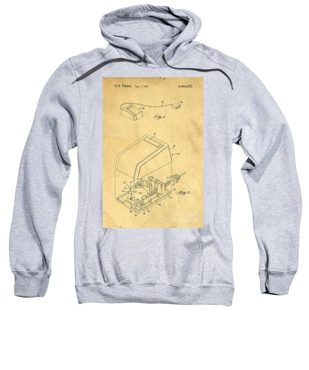Apple Sweatshirt featuring the digital art Early Computer Mouse Patent Yellowed Paper by Edward Fielding