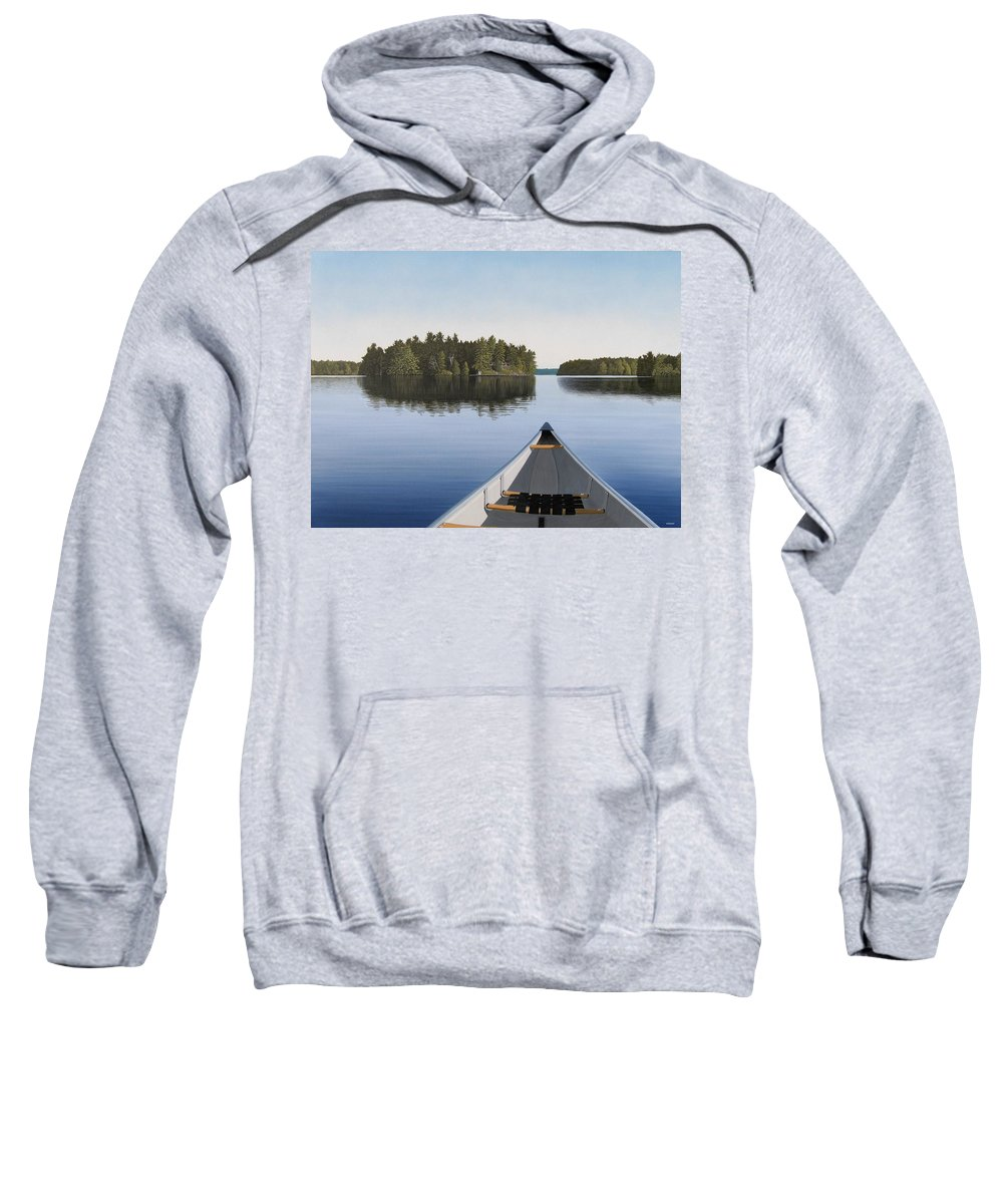 Canoe Sweatshirt featuring the painting Early Evening Paddle Aka Paddle Muskoka by Kenneth M Kirsch