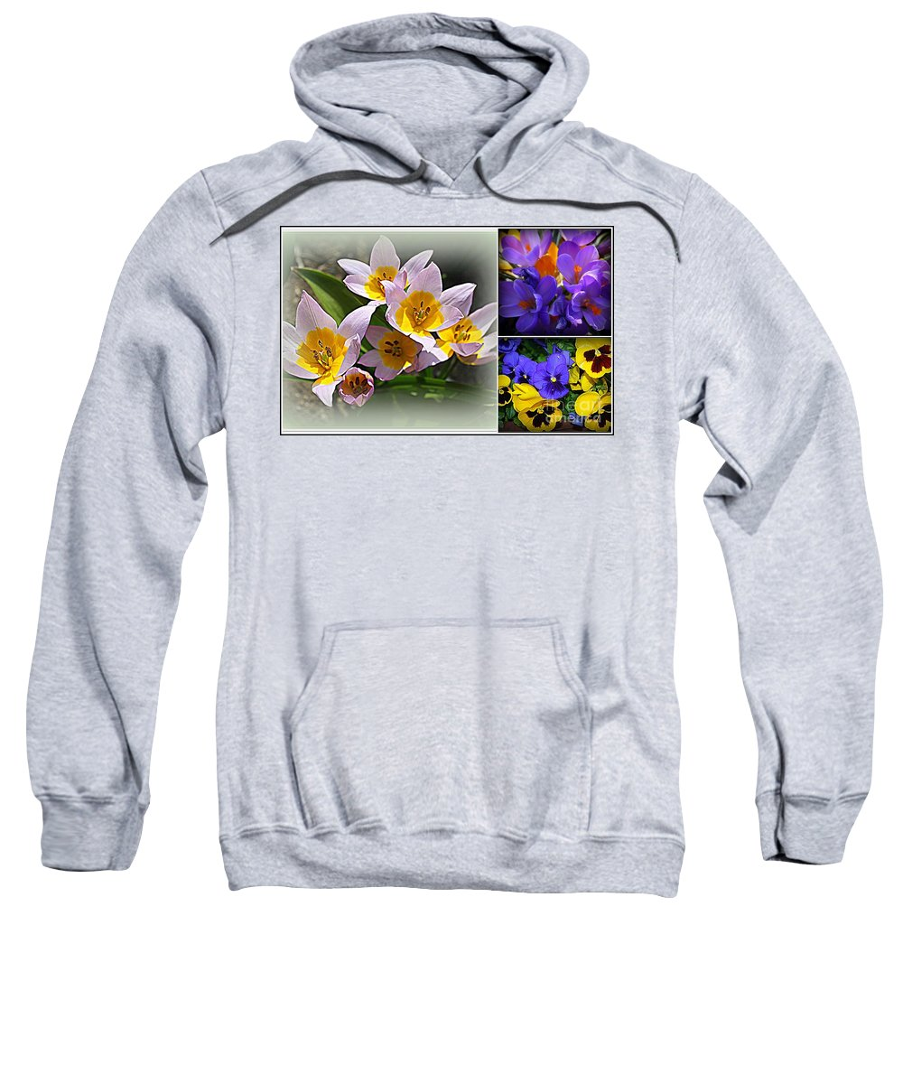 Early Spring Blossoms - Spring - Spring Flowers - Florals - Plants - Tulips - White Tulips - Purple Crocuses - Yellow Flowers - Nature - Dora Sofia Caputo Sweatshirt featuring the photograph Early Spring Blossoms by Dora Sofia Caputo Photographic Design and Fine Art