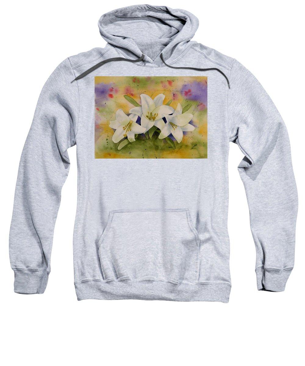 Watercolor Sweatshirt featuring the painting Easter Lilies by Brett Winn