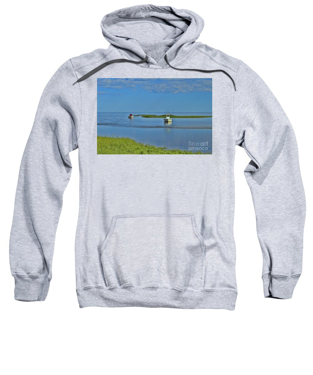 Eastham Boat Launch Sweatshirt featuring the photograph Eastham Shoreline by Allen Beatty