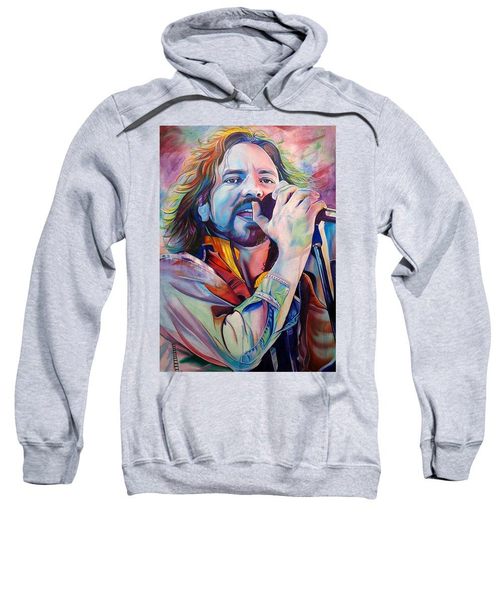 Eddie Vedder Sweatshirt featuring the painting Eddie Vedder In Pink And Blue by Joshua Morton