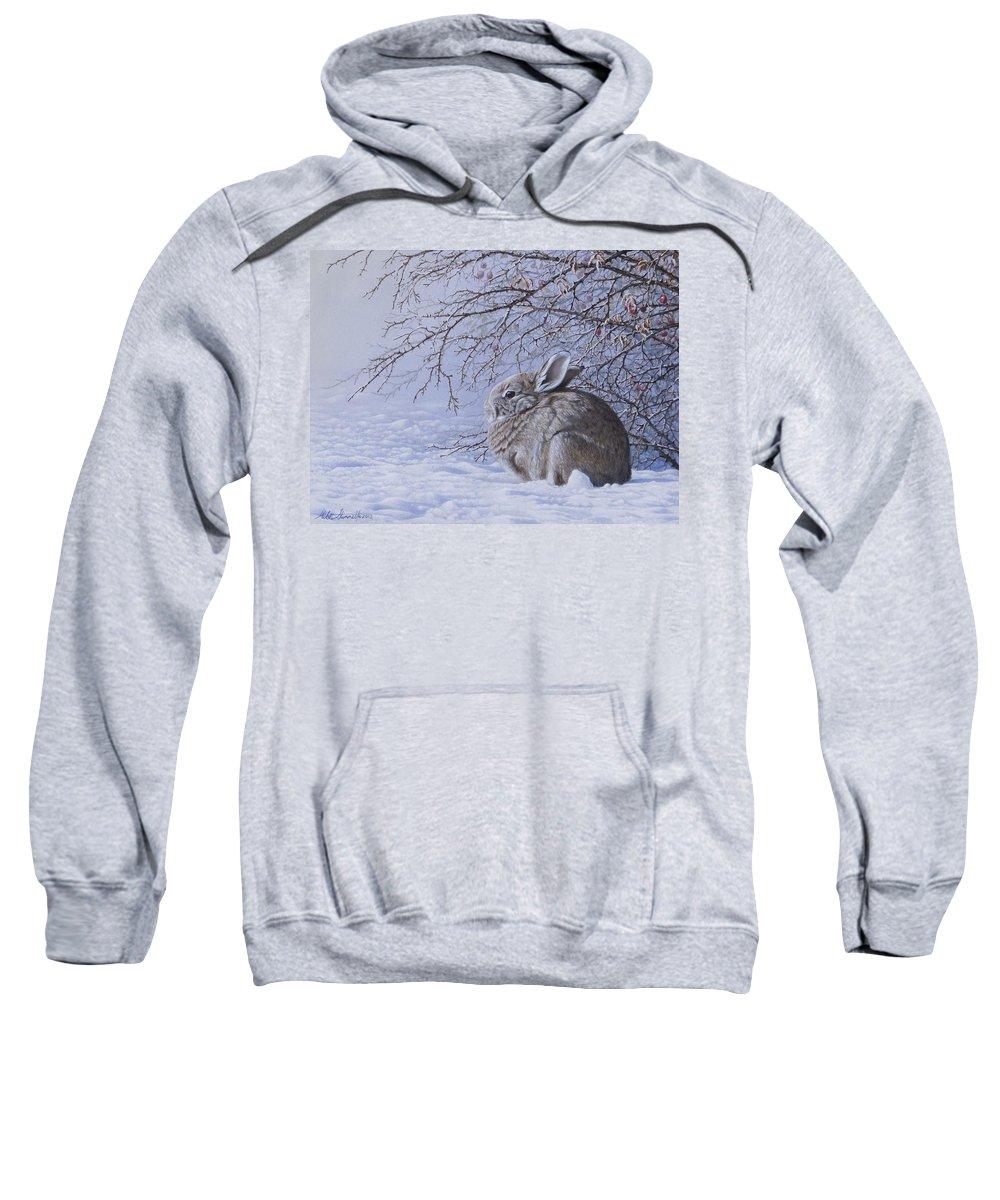 Rosebush Sweatshirt featuring the painting Edge Of The Briars by Mike Stinnett