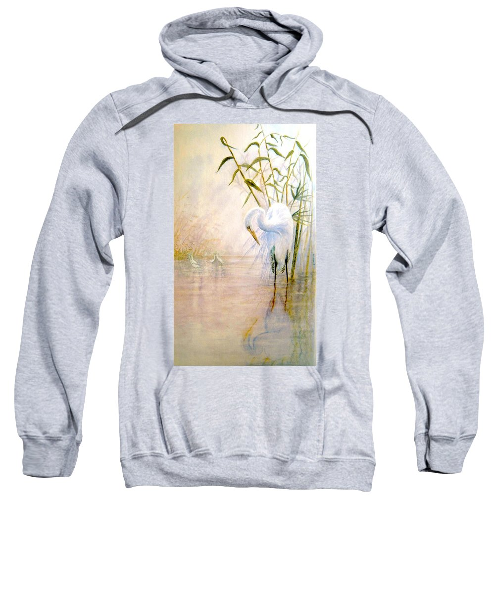 Eret; Bird; Low Country Sweatshirt featuring the painting Egret by Ben Kiger
