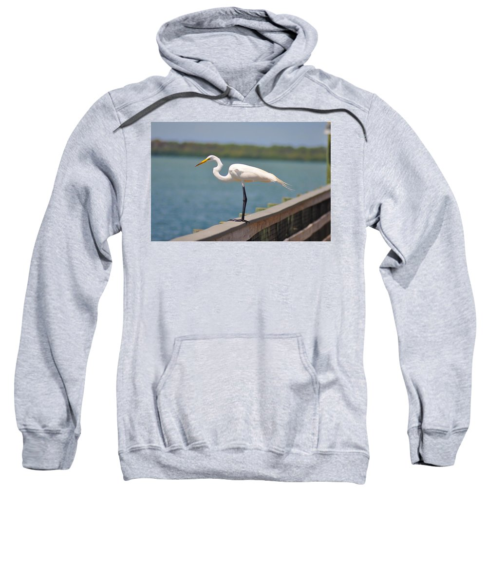 Egret Sweatshirt featuring the photograph Egret On A Pier by Bill Cannon
