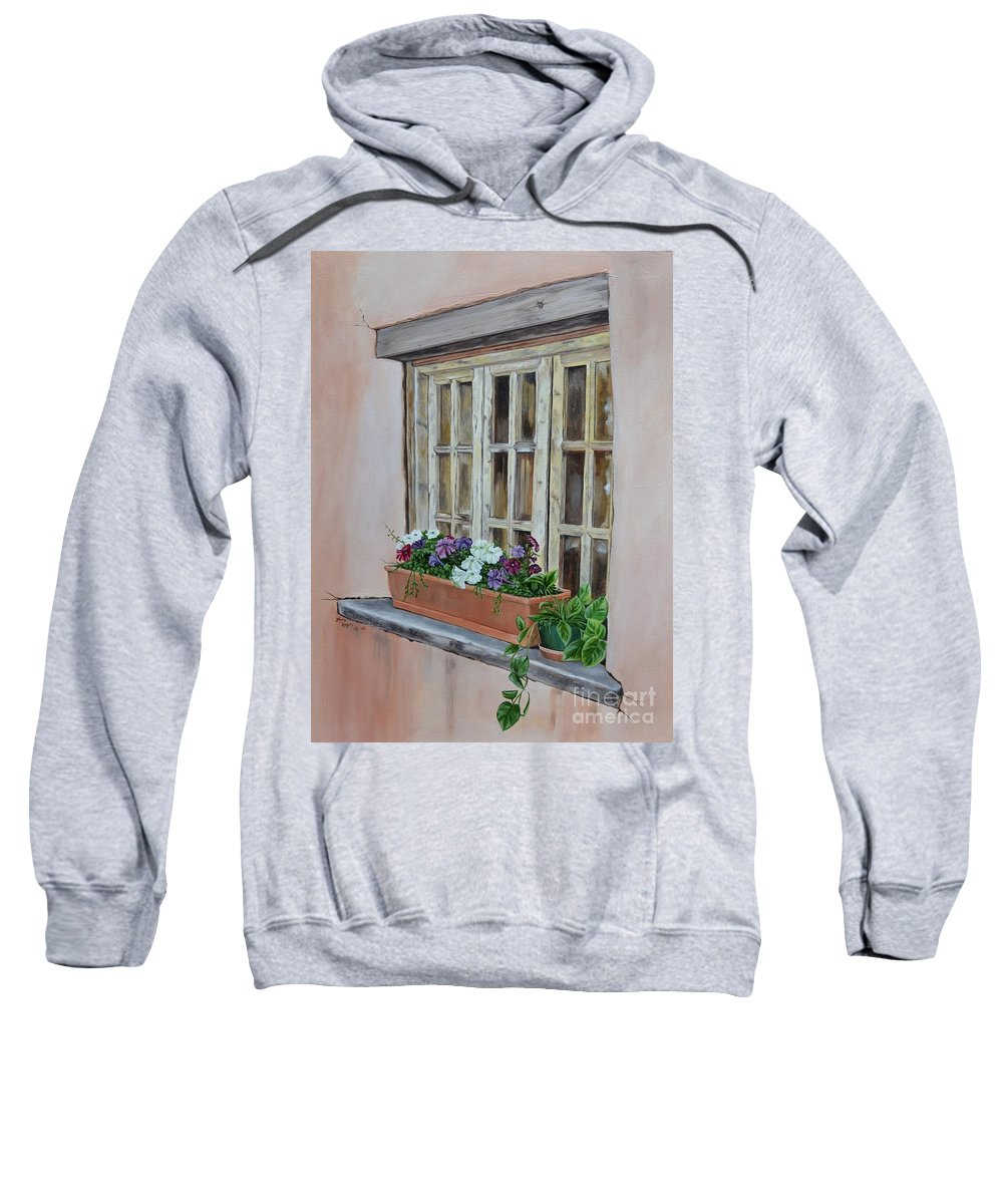 Adobe Sweatshirt featuring the painting Elayne Look Through The Window by Mary Rogers