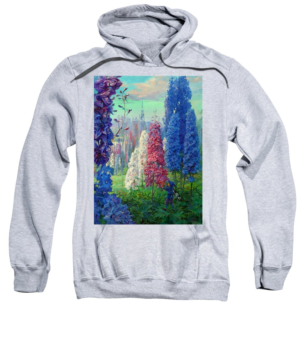Elf Sweatshirt featuring the painting Elf And Fantastic Flowers by Galina Gladkaya