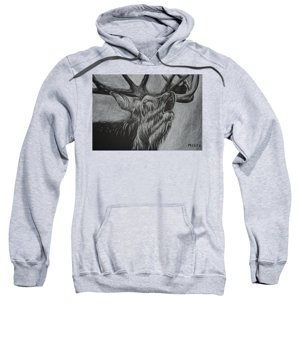 Drawing Sweatshirt featuring the drawing Elk by Michal Straska