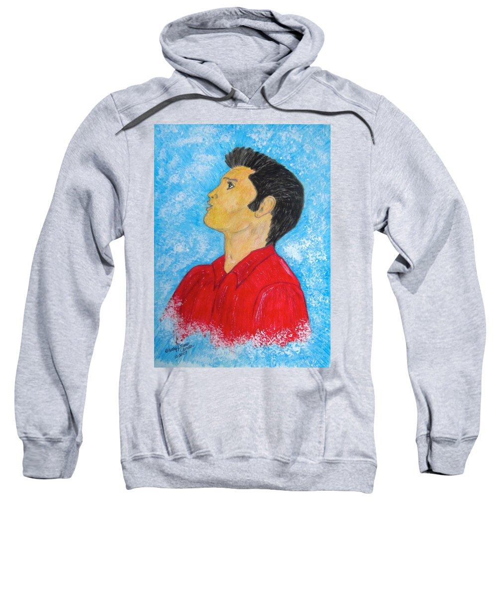 Elvis Presely Sweatshirt featuring the painting Elvis Presley Singing by Kathy Marrs Chandler