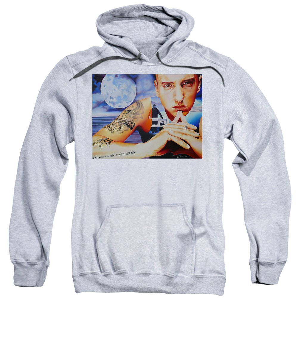 Eminem Sweatshirt featuring the painting Eminem by Joshua Morton