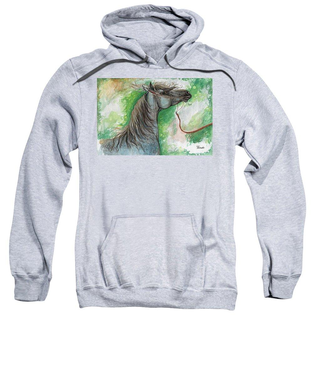 Sweatshirt featuring the painting Emon Polish Arabian Horse 1 by Angel Ciesniarska