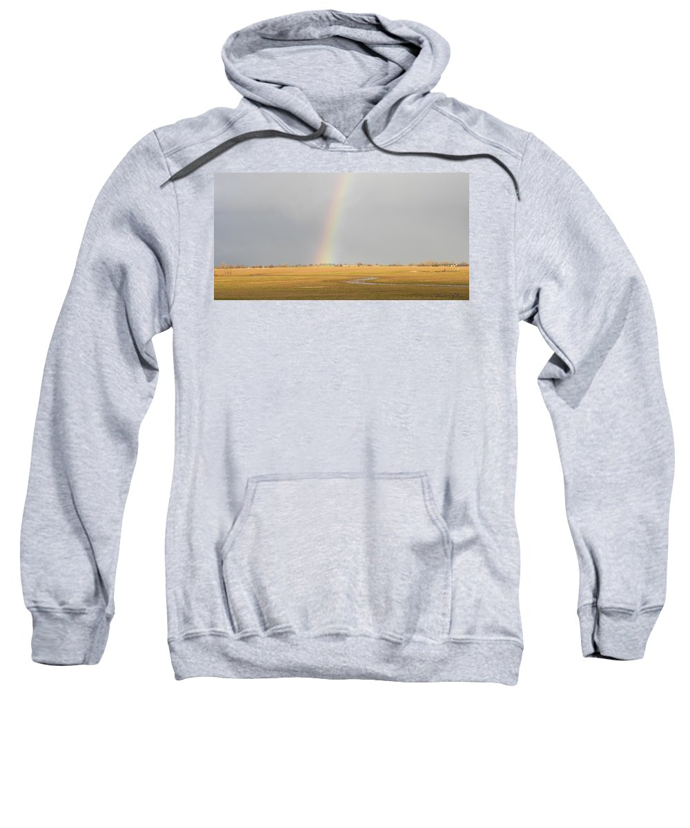 Rainbow Sweatshirt featuring the photograph End Of The Rainbow by Annie Adkins