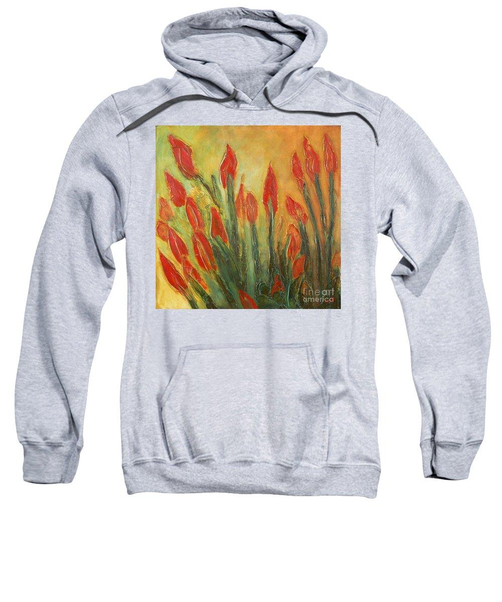 Flower Sweatshirt featuring the painting Endangered Species by Tonya Henderson