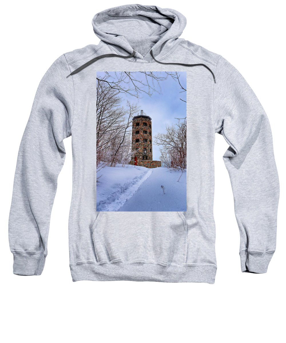 Winter Sweatshirt featuring the photograph Enger Tower In Winter by Bryan Benson