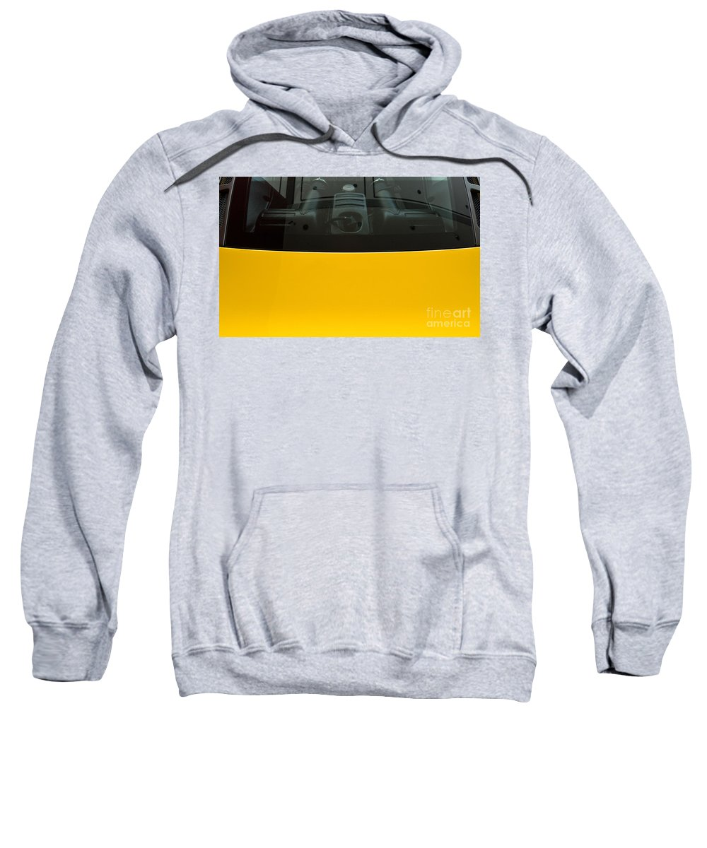 Yellow Sweatshirt featuring the photograph Engine Bay Rear Window by Rick Piper Photography