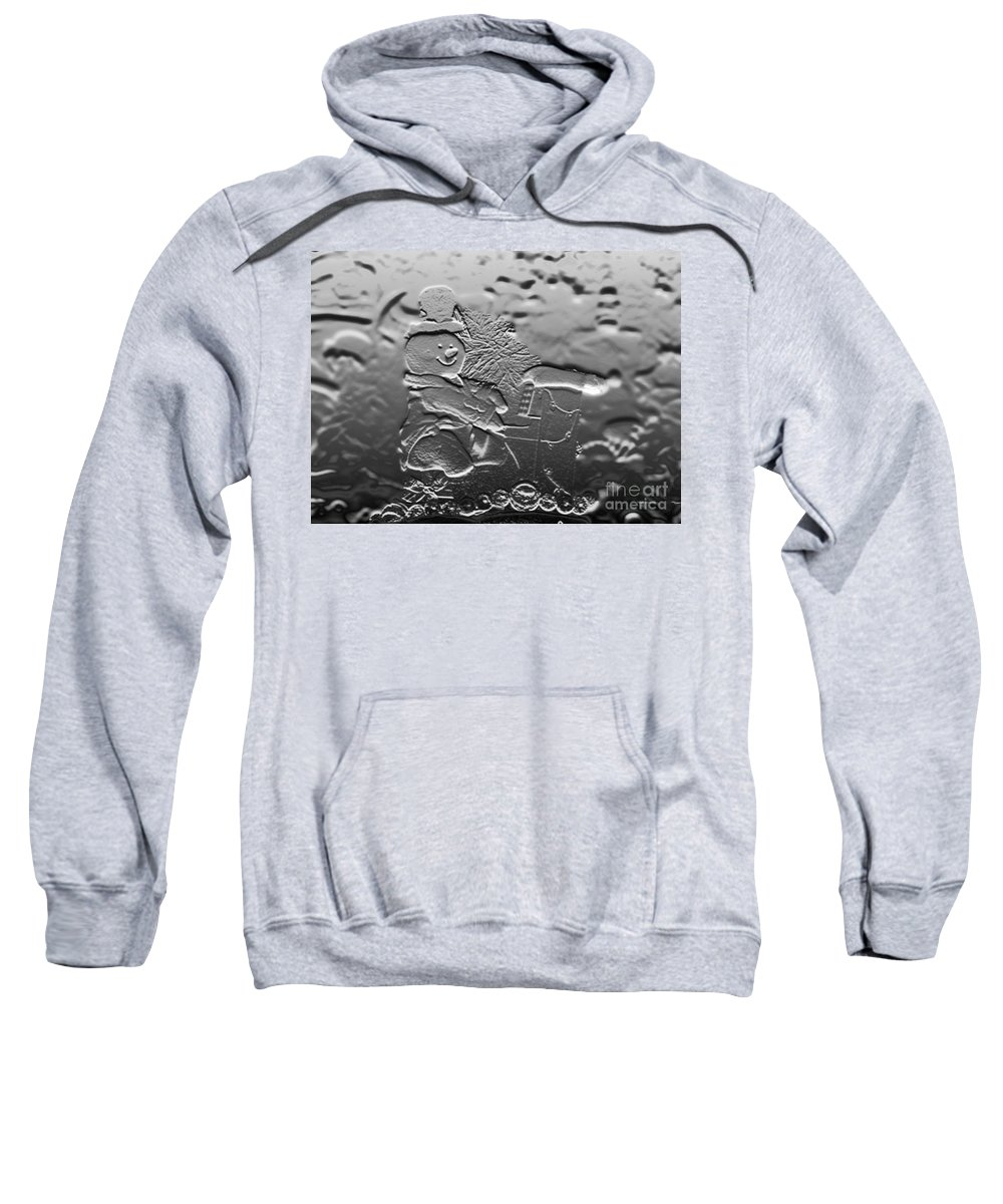 Music Sweatshirt featuring the photograph Engraved Snowman Playing The Piano by Thomas Woolworth