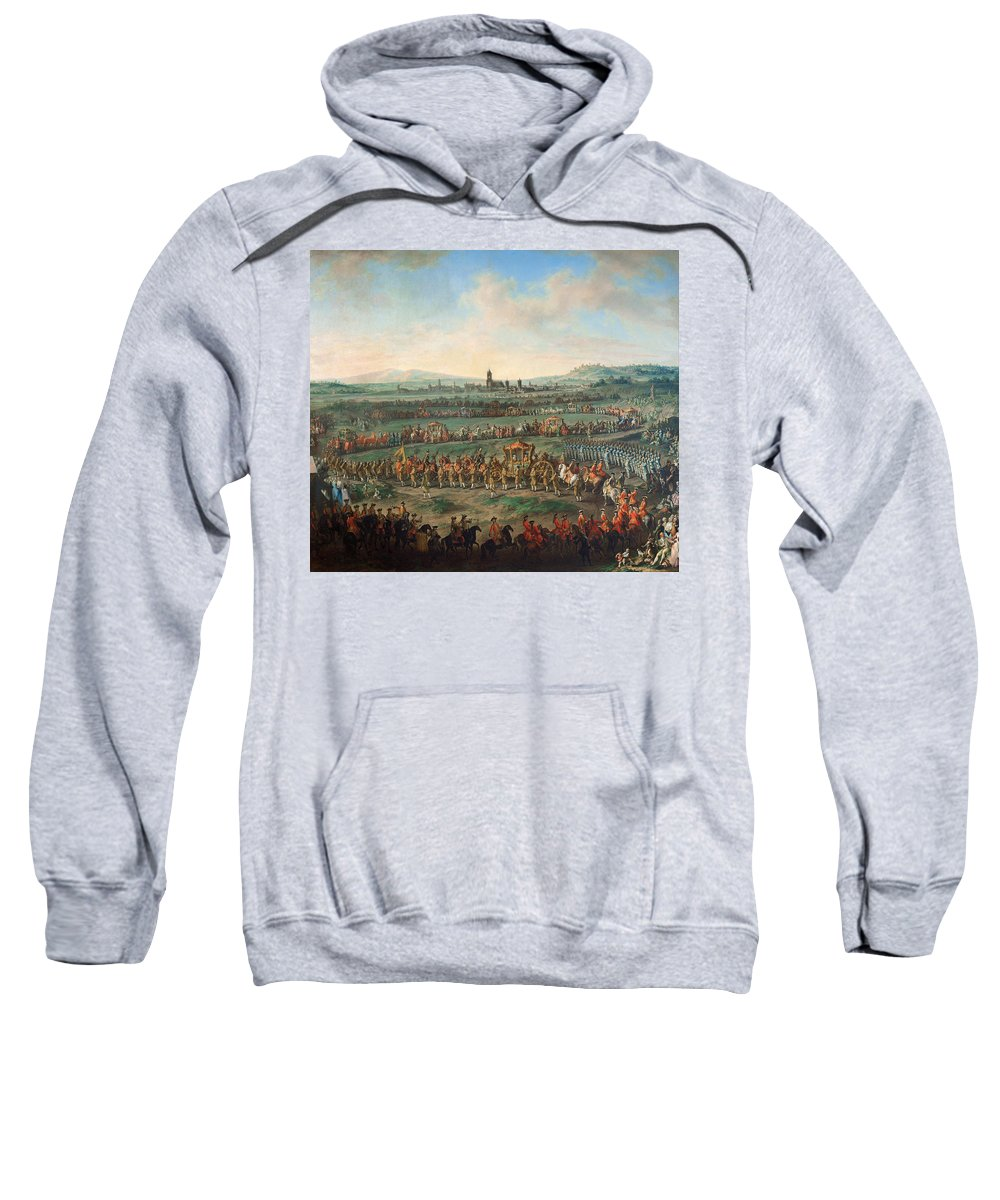 Johann Dallinger Von Dalling Sweatshirt featuring the painting Entrance Of The Emperor Franz I Stephan And His Son Joseph II Into Frankfurt by Johann Dallinger Von Dalling