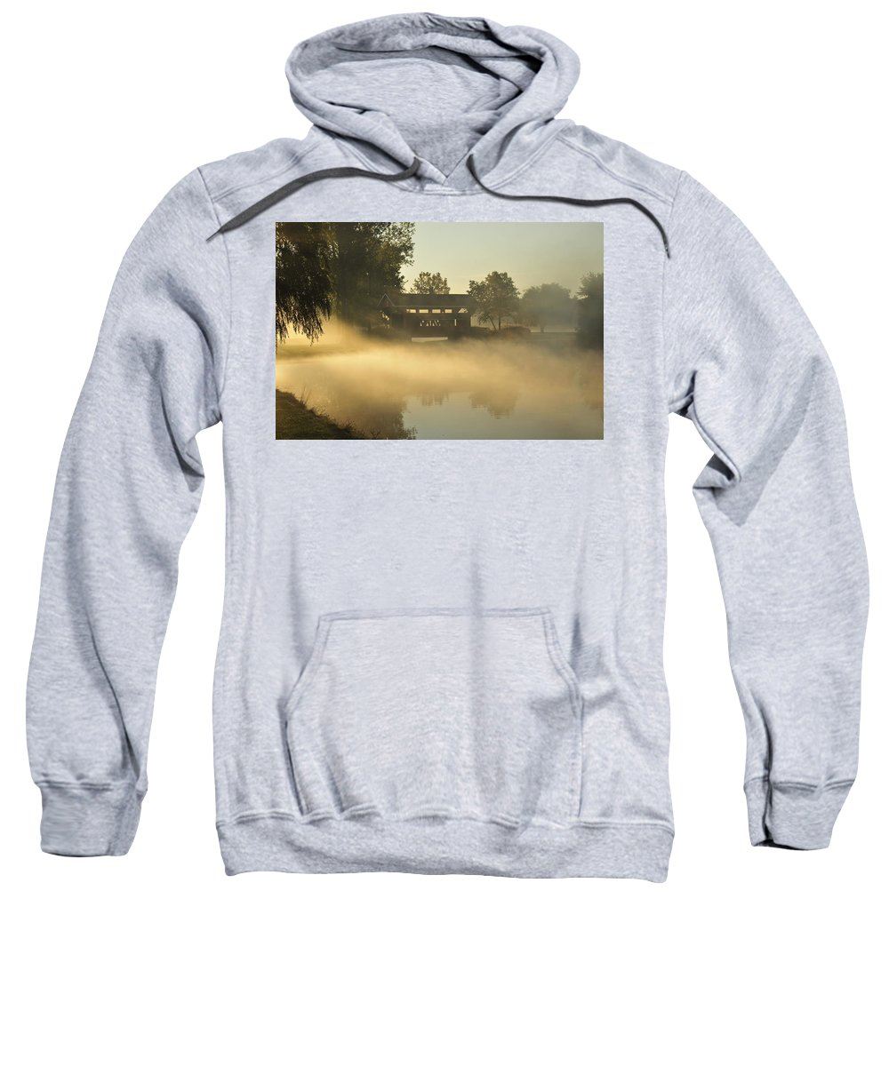 Covered Bridge Sweatshirt featuring the photograph Essenhaus Covered Bridge by David Arment
