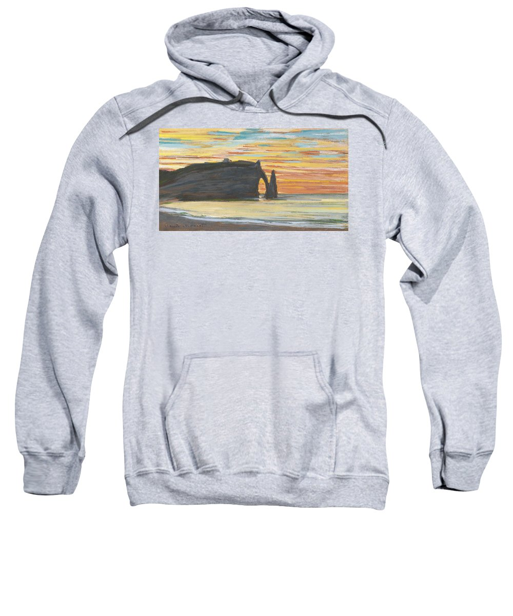 Claude Monet Sweatshirt featuring the painting Etretat. Cliff Of Aval by Claude Monet