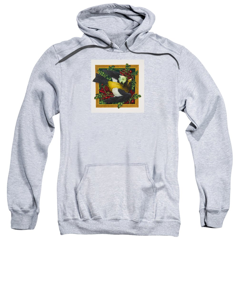 Christmas Sweatshirt featuring the painting Evening Grosbeak by Lynn Bywaters