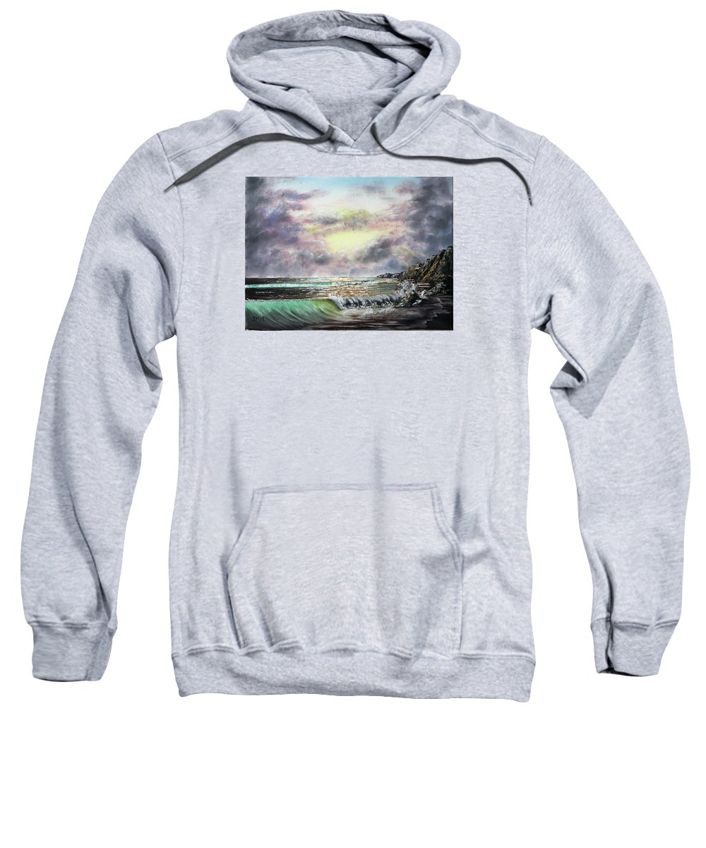 Dramatic Sky Sweatshirt featuring the painting Evening Seashore by Joseph Maul