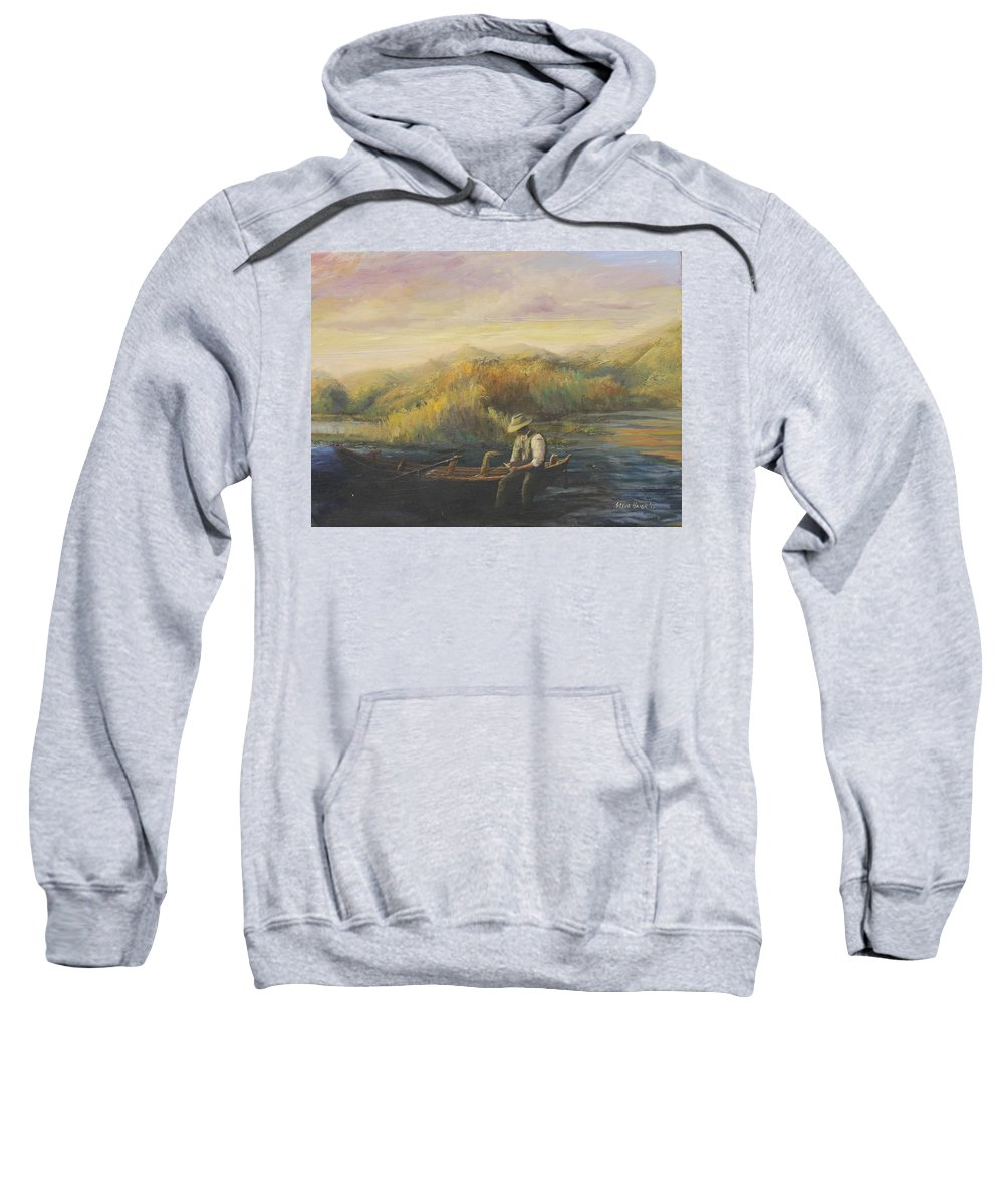 Fly Fishing Sweatshirt featuring the painting Evening Selection by Steve Haigh