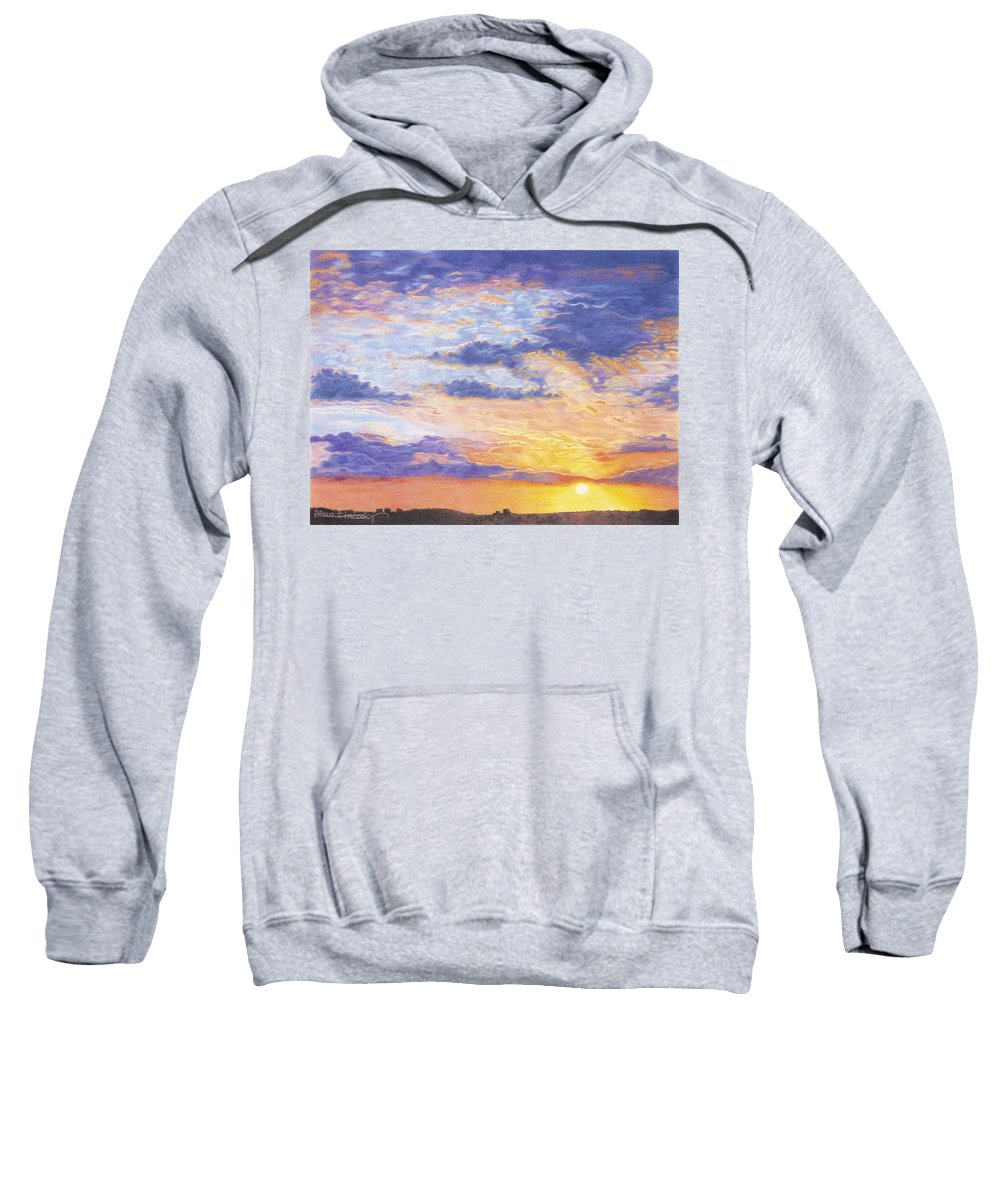Desert Sweatshirt featuring the drawing Evening Sky by Diana Hrabosky