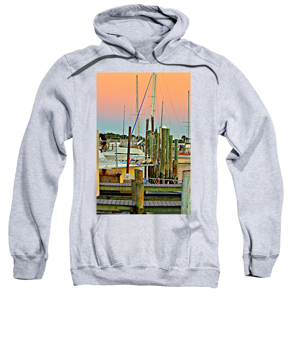 Boats Sweatshirt featuring the photograph Evening View by Ally White