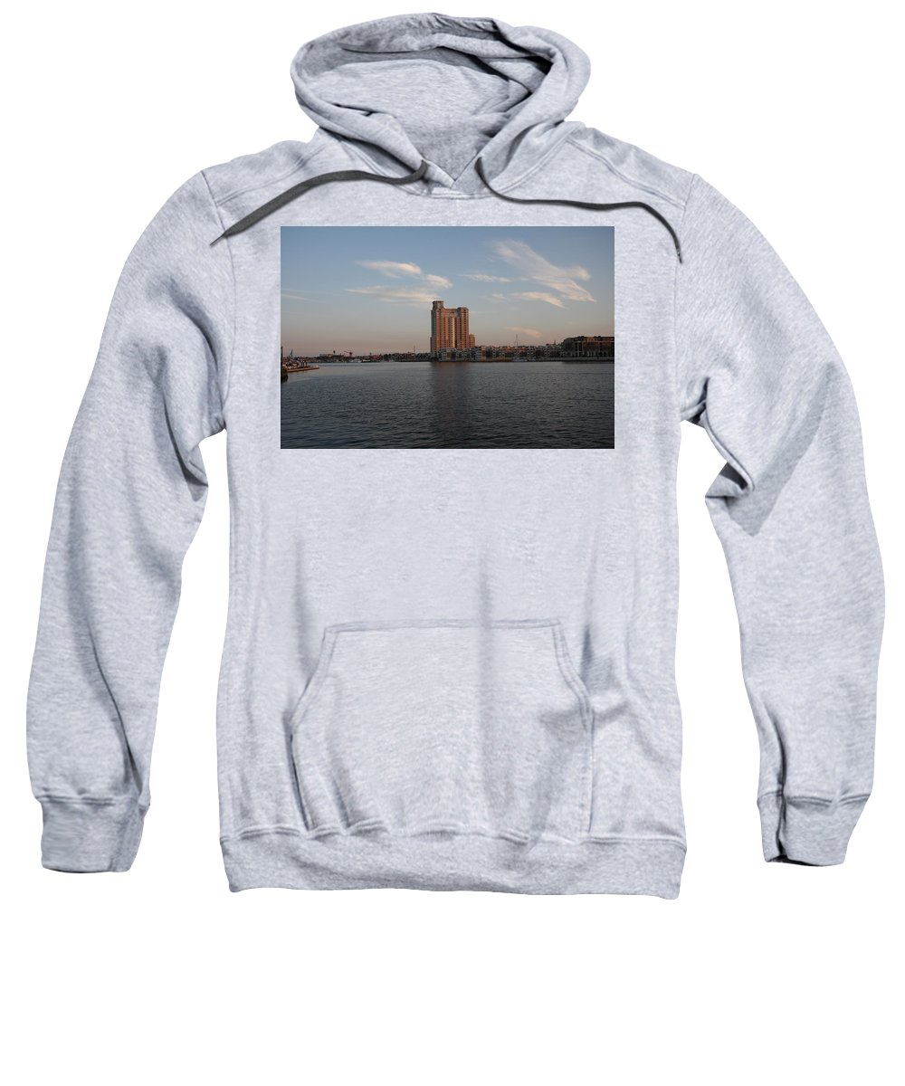 Habor Sweatshirt featuring the photograph Eveninglight Baltimore Inner Harbor by Christiane Schulze Art And Photography