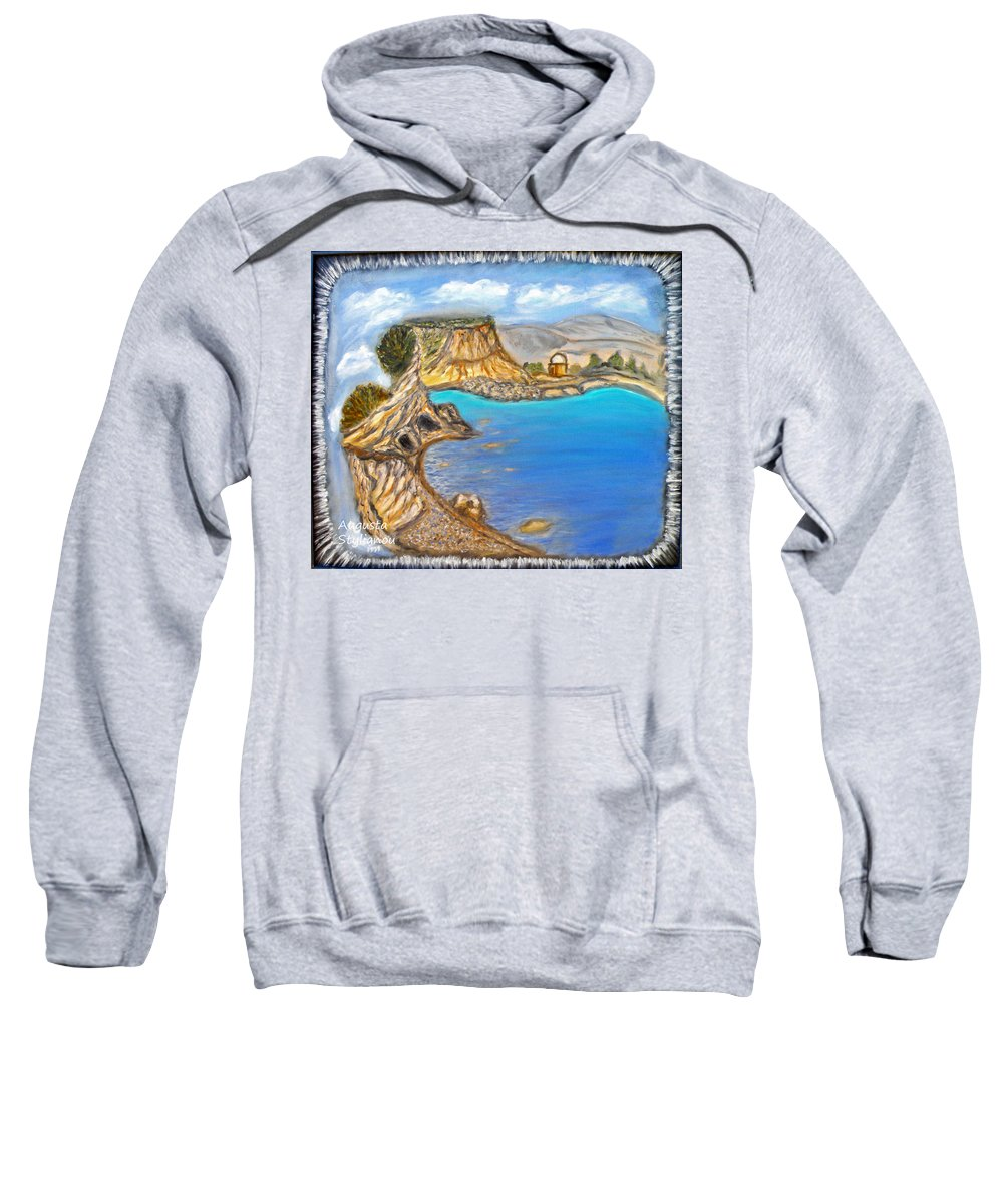 Exotic Beach Sweatshirt featuring the painting Exotic Beach Near Limassol by Augusta Stylianou