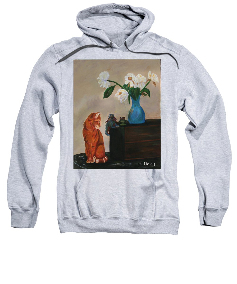Cat Art Sweatshirt featuring the painting Eye To Eye by Gail Daley